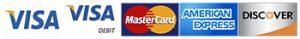 Online Payments methods: Visa, Visa Debit, MasterCard, American Express, Discover